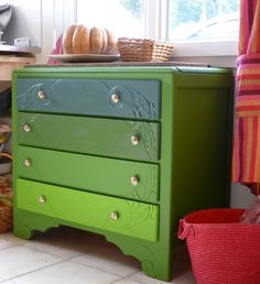 green painted chest of drawers