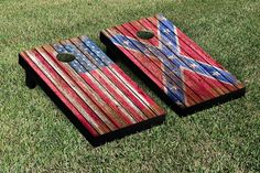 Confederate and US Flags Distressed Wood Cornhole Game Set