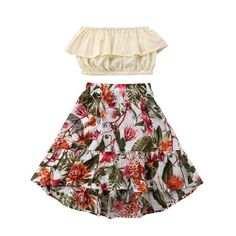 Find the best prices on GSHOOTS Baby Girls' Off Shoulder Ruffle Tube Top + Floral Maxi Skirt Outfit Set Years, Jungle) and save money. Girls Summer Outfits, Toddler Girl Outfits, Toddler Fashion, Kids Outfits, Kids Fashion, Cute Outfits, Toddler Girls, Fashion Clothes, Baby Girls
