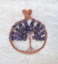 amethyst tree of life pendantamethyst tree by FloralFantasyDreams Tree Of Life Necklace, Tree Of Life Pendant, Love Necklace, Spiritual Jewelry, Wire Wrapped Jewelry, Wire Wrapping, Birthstones, Mall, Amethyst