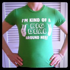 🏆 Big Deal T-Shirt 🏆 Green t-shirt. 100% cotton. Tag says Medium, but fits like an X-Small. Tops Tees - Short Sleeve