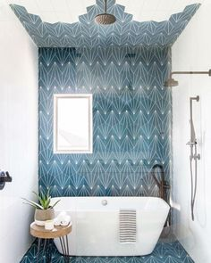 This Kids' Is So Chic That Even Adults Will Be Jealous, boho bathroom with bold tile, bole blue geometric tile in bathroom design with modern slipper tub, modern free standing bathtub in bold modern bathroom, fun kid bathroom design with blue tile Bad Inspiration, Bathroom Inspiration, Style At Home, Beautiful Bathrooms, Home Design, Clean Design, Design Ideas, Design Concepts, Design Design