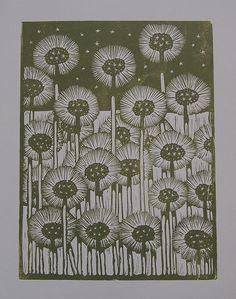 Dandelions Lino Print in Olive Green.