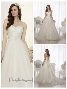 CRISS CROSS ASYMMETRICAL SWEETHEART NECKLINE A-LINE WEDDING DRESSES