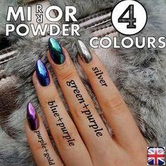 MIRROR POWDER CHROME EFFECT ART NAIL PIGMENT HOLO BLUE PURPLE SILVER GREEN NAILS