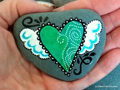 lift me up / painted rocks / painted stones / hearts with wings / winged hearts / tiny art / paperweights / art on stone / hand held art by LoveFromCapeCod on Etsy