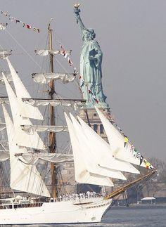 Looks like fleet week! Shot of the lovely lady of liberty!