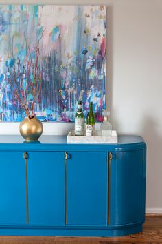 Unbelievable.  BM Bainbridge Blue turquoise lacquer dining buffet by Design Manifest