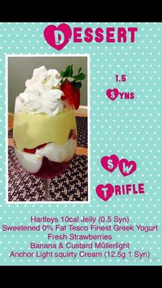Slimming world trifle Not my recipe Slimming World Trifle, Slimming World Deserts, Slimming World Puddings, Slimming World Fakeaway, Slimming World Snacks, Slimming World Recipes Syn Free, Slimming World Syns, Sw Meals, Skinny Recipes