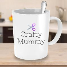 Crafty Mummy with Purple Scissors - Crafty Coffee Mug - Crafts & DIY Lover Gift Idea #etsy #etsyshop #shopping #crafts #crafty #diy #giftideas