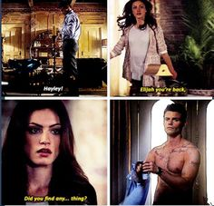 "S1 Ep14 ""Long Way Back from Hell"" - Elijah and Hayley (My same exact reaction! Thank you CW!)"