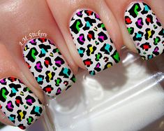 Details about Multi Color Leopard Print Nail Art Stickers Transfers Decals Set of 22 These decals can be applied to any type of nails (regular polish, soak off gel, hard gel and acrylic). Multi Color Leopard Print nail decals, very pretty, bright stickers Neon Nail Designs, Simple Nail Art Designs, Leopard Nail Designs, Animal Nail Designs, Nails Design, Nail Art Stickers, Nail Decals, Feather Nail Art, Leopard Print Nails