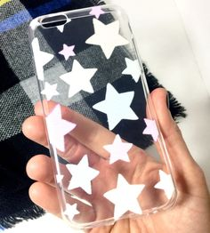Soft plastic iPhone case with pale pastel star print! Light weight & protective! Free shipping