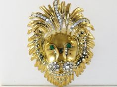 Vintage Very Large Gold Tone Rhinestone by delightfullyvintage