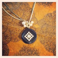 dwallacedesigns antique button and crystal necklace.