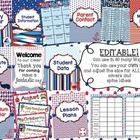 This Nautical Teacher Binder is fully EDITABLE in PPT where you can use your own fonts and change the size for ALL binder cover, spine labels, cale...