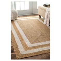 White Solid Loomed Area Rug - (5'x8') - nuLOOM, Beige White