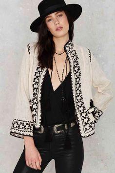 Raga Mika Embroidered Jacket - What's New : Clothes Boho Fashion, Womens Fashion, Fashion Design, Fashion Tips, Fashion Trends, Classy Fashion, Fashion Hacks, Punk Fashion, Petite Fashion