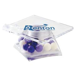 Graduation Cap Container / Fresh Gems Mints - Fresh gems mints in a graduation cap shaped container.