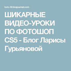 ШИКАРНЫЕ ВИДЕО-УРОКИ ПО ФОТОШОП CS5 - Блог Ларисы Гурьяновой