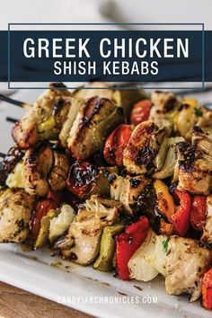Eat Delicious -- with these Greek Chicken Shish Kebabs.  Sometimes simple is best. These Kebabs are marinated in an easy, delicious sauce infusing the chicken and vegetables with maximum flavour. Grilled to perfection leaving the perfect amount of smoke and char for an irresistible bite.  #shishkebab #greekchickenkebab #greekchicken #grilledgreekchicken #chickenmarinade via @Candy Jar Chronicles Best Chicken Recipes, Turkey Recipes, Seafood Recipes, Dinner Recipes, Summer Grilling Recipes, Healthy Grilling, Kebabs On The Grill, Food Dishes, Main Dishes