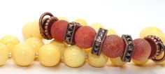 21in long Yellow Sponge Coral, Matte Fire Agates and Copper Accents Necklace | AyaDesigns - Jewelry on ArtFire