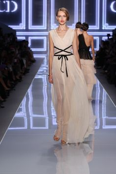 Dior Ready-to-Wear Spring Summer 2012 – Look 45: Off white pleated silk dress. Discover more on www.dior.com
