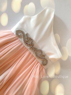 Peach Flower Girl Dress,  Rhinestone Sash / Ivory or White - CUSTOM made to fit on Etsy, $159.99
