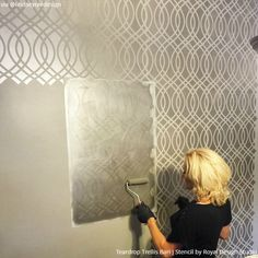 Vanity with Teardrop Trellis Bari J Stencil   Hollywood Glam Stenciled Walls   Project by Snazzy Little Things http://snazzylittlethings.com/closet-makeover-using-stencils/
