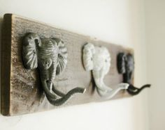 Elephant trio wall decor for hanging light by PineknobsAndCrickets