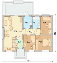 DOM.PL™ - Projekt domu ARN Sezam CE - DOM RS1-24 - gotowy koszt budowy Bungalow, Tiny House, Home Goods, House Plans, Sweet Home, 1, Floor Plans, How To Plan, House Styles