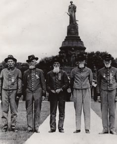 Five Confederate veterans at a Tennessee reunion  Men pictured include Billy Nolen, Joe Couch, and Claudius Buchanan.