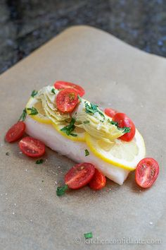Halibut with Artichokes and Tomatoes en Papillote