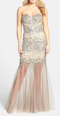 Embellished Sheer Hem Trumpet Gown