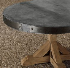 Contemporary Yet Rustic, This Eclectic Concrete Table With Aluminum Banding  And Weathered Teak Base Is A Bold Addition To Your Dining Patio.