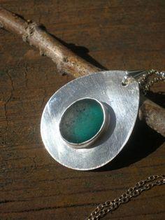 Mermaids Tear - Genuine Sea Glass Jewelry - Bezel Set Pendant Necklace via Etsy