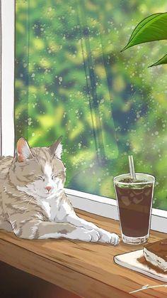 Chill Wallpaper, Future Wallpaper, Cat Wallpaper, Lock Screen Wallpaper, Cartoon Wallpaper, Anime Cat, Anime Manga, Cute Images, Cute Pictures