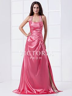 Hot Pink A-Line Floor Length Halter With Straps Backless Dress - US$ 108.99 - Style P1753 - Victoria Prom