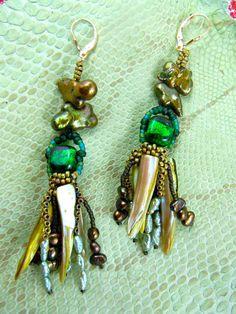 Green one of a kind handmade earrings by HannaLoreEtsy on Etsy