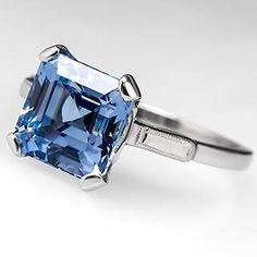 Square Emerald Cut Light Blue Sapphire Engagement Ring Platinum
