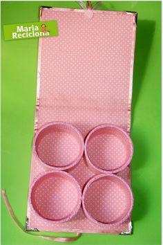 ** Maria Reciclona **: Reutilizando rolos de fitas adesivas para criar uma caixa organizadora
