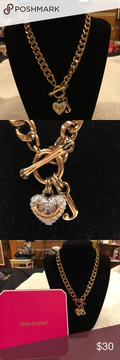 Juicy Couture Gold Paved Heart Banner Necklace NWOT- Item# YJRU4044, Beautiful paved banner heart necklace, gold J charm, toggle clasp.  Comes with original box.  Please feel free to ask questions! Juicy Couture Jewelry Necklaces