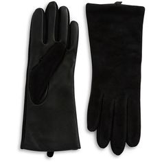 Lord & Taylor Suede Tech Gloves ($75) ❤ liked on Polyvore featuring accessories, gloves, black, lord & taylor, lined gloves, suede gloves, boxing gloves and suede leather gloves