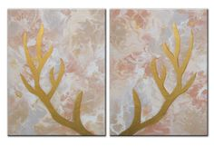 Original deer antlers painting ready to hang by theartofthematrix