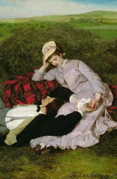 The Lovers, 1870 (oil on canvas) by Pal Szinyei Merse Hut Romantic Paintings, Classic Paintings, Victorian Paintings, Victorian Art, Romance Art, Lovers Romance, Art Ancien, Classical Art, Couple Art