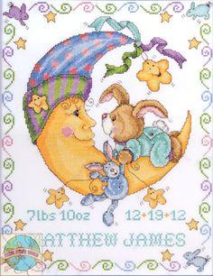 Design Works - Bunny and Moon Birth Record - Cross Stitch World
