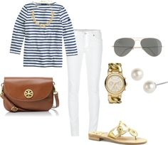 navy breton tee, white skinny jeans, camel saddle bag, gold watch, pearl earrings, gold jack rogers