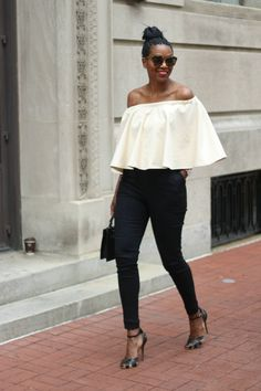 Off the shoulder top and cigarette pants