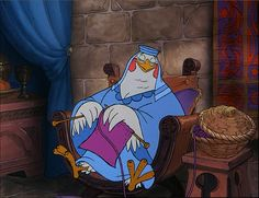 Lady Kluck knits while Maid Marian wistfully talks about Robin Hood.