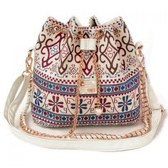 Bohemian Chains and Print Design Shoulder Bag For Women, WHITE in Shoulder Bags | DressLily.com